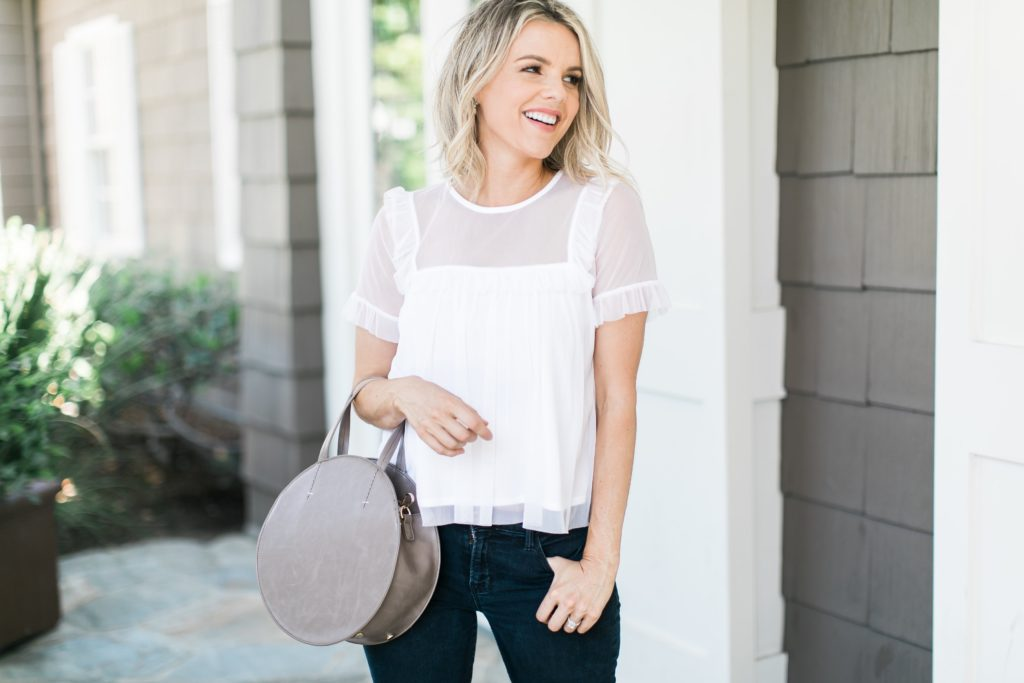 White Ruffle Top – $32