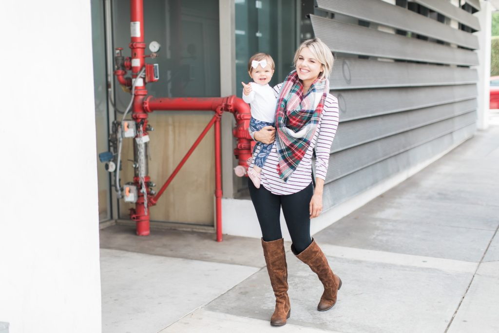 Staple Fall Outfit – Boots, Stripes, and Plaid