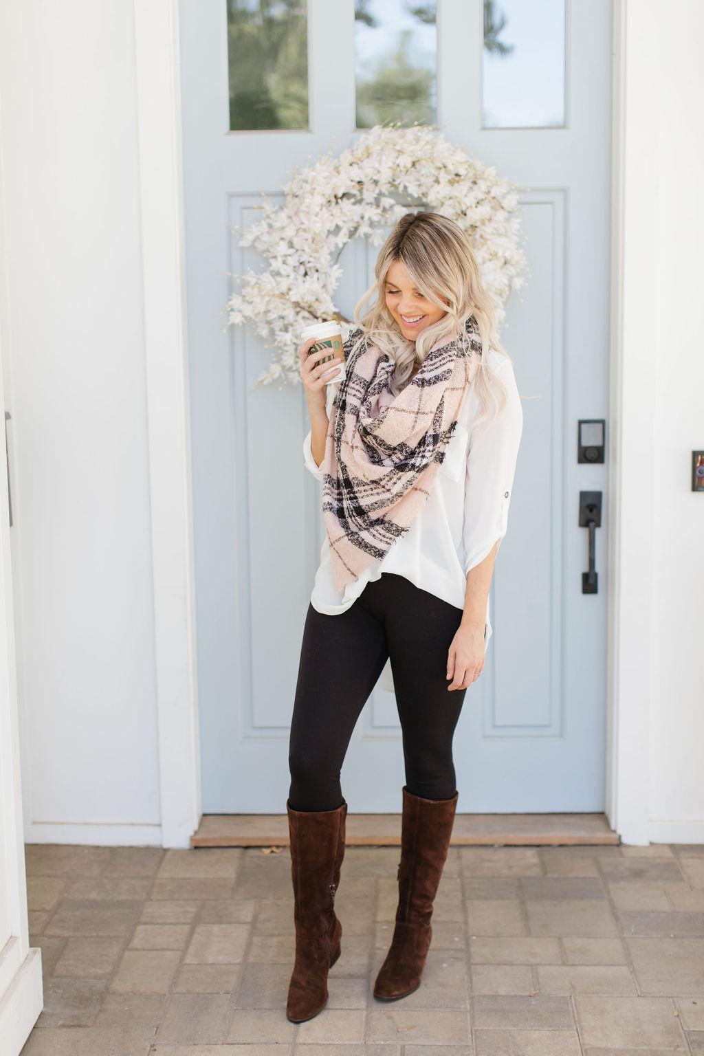fall look leggings boots scarf born