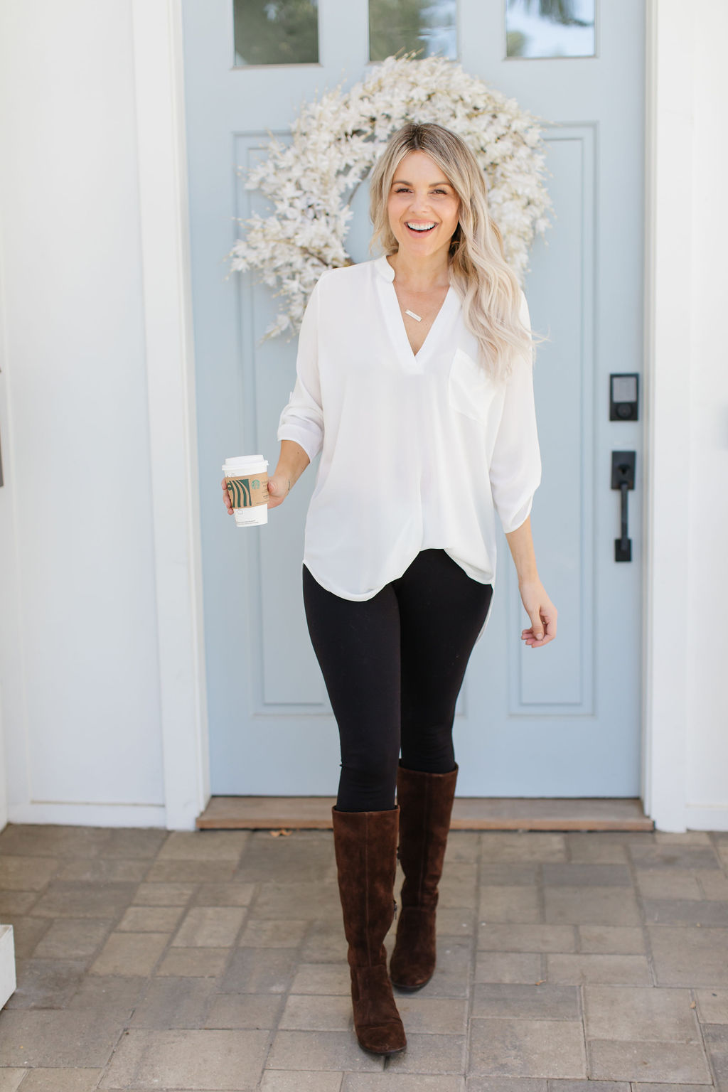 fall look white top boots born