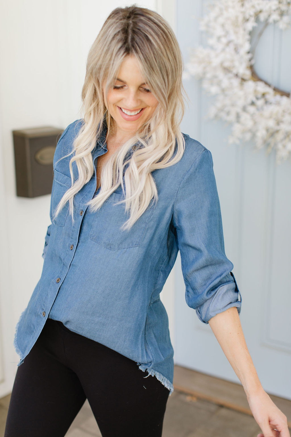 affordable chambray top