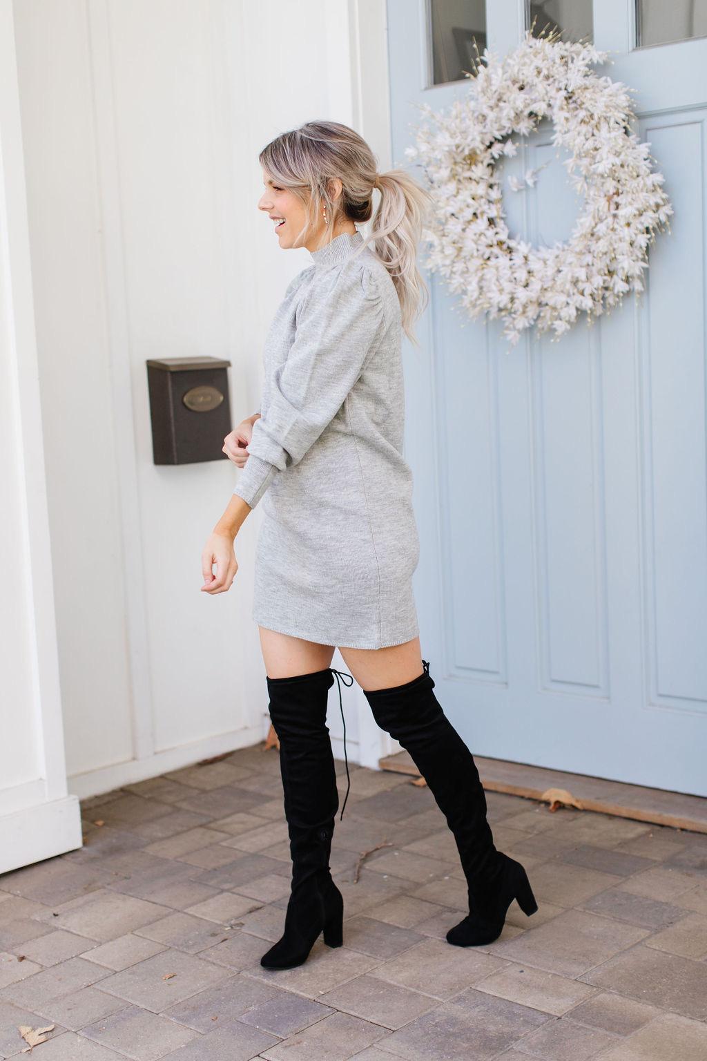 Gray Sweater Dress drama