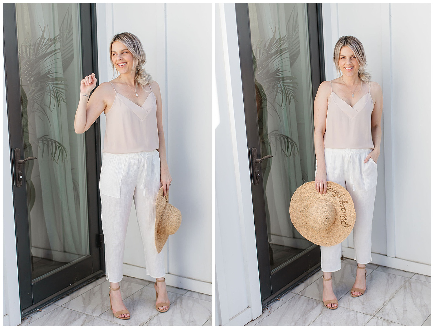 white linen vacation pant