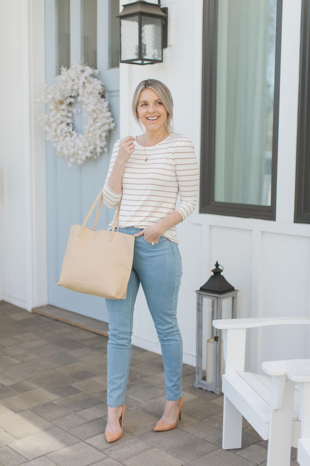 striped sweater neutral tops