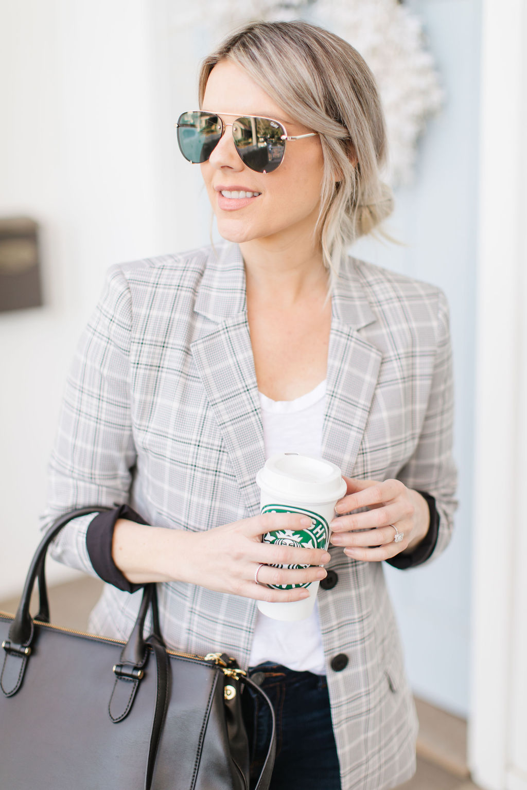 business casual look with blazer
