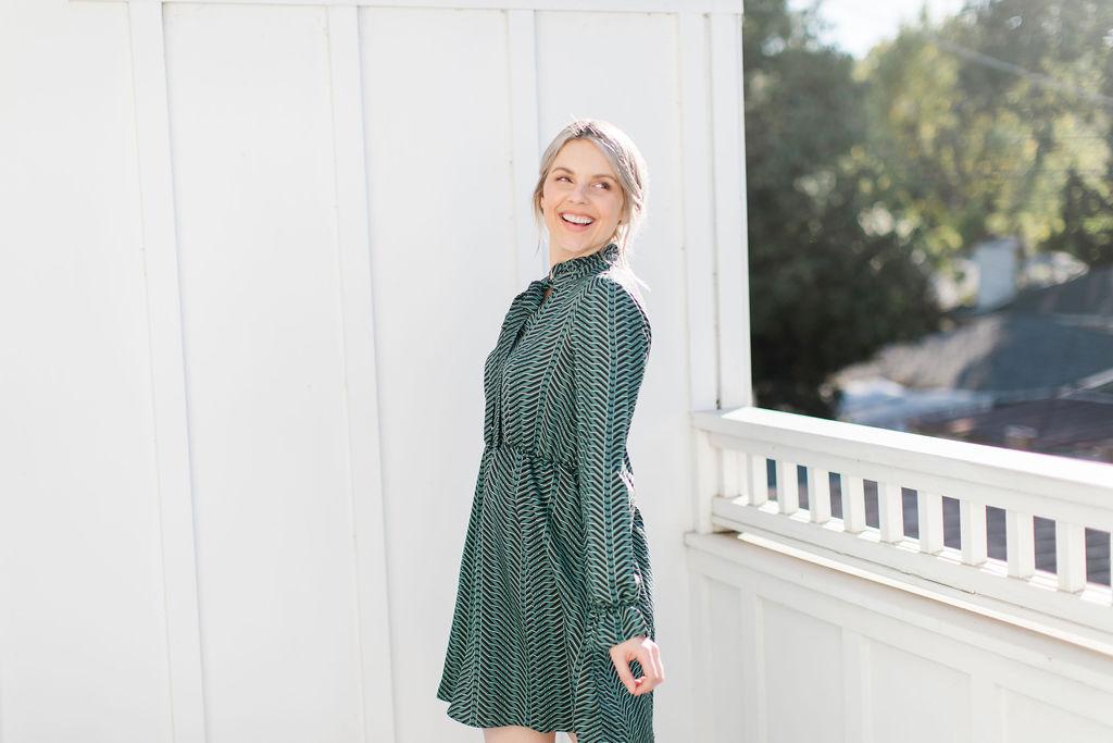 geometric green dress