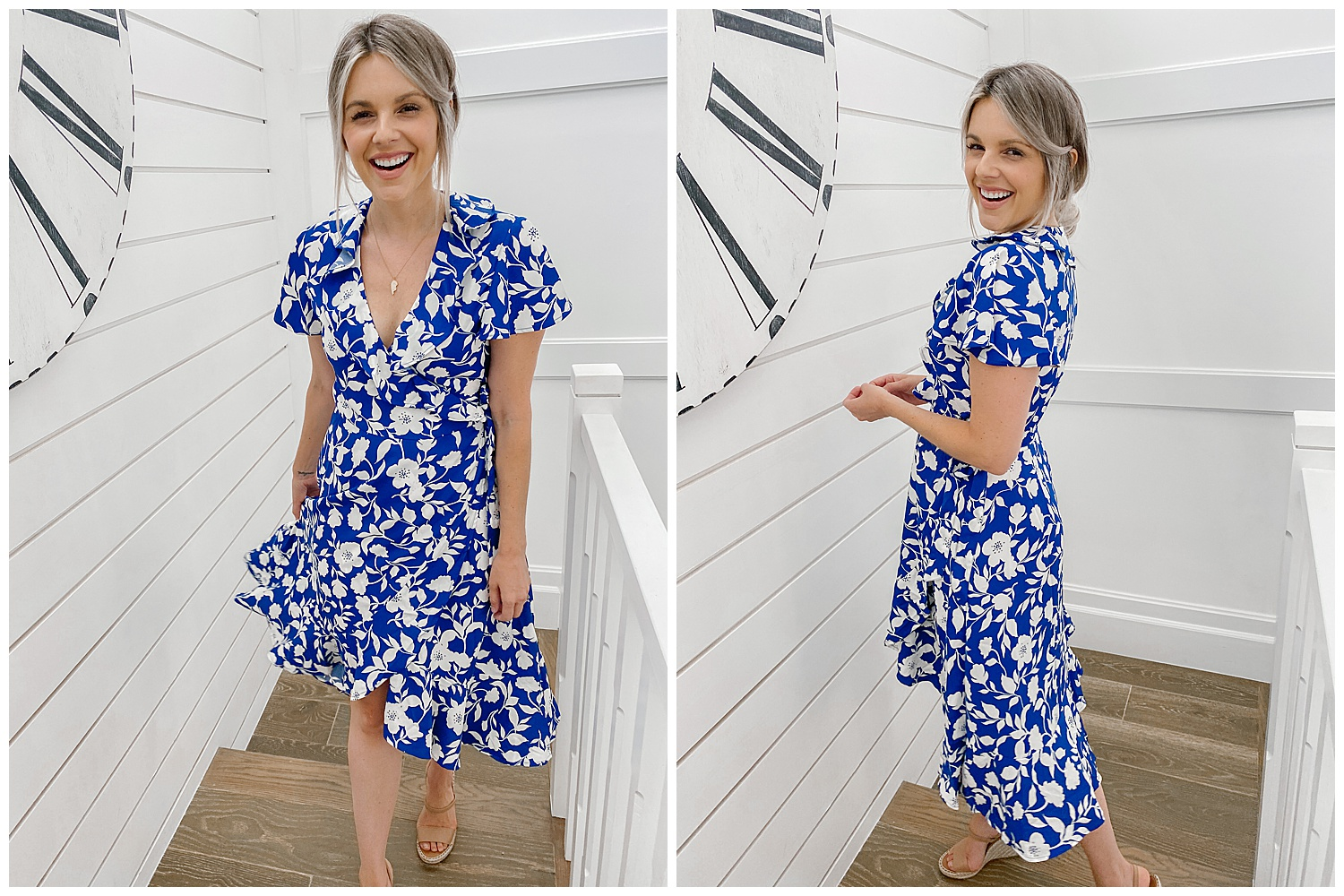 floral summer blue wrap dress