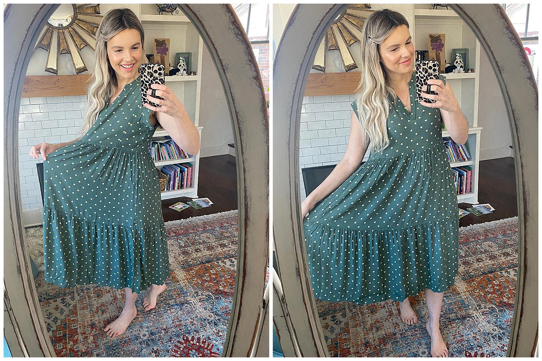 green dress - basic tee